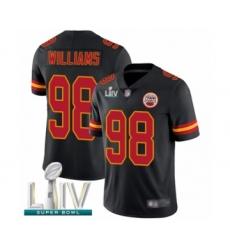 Men's Kansas City Chiefs #98 Xavier Williams Limited Black Rush Vapor Untouchable Super Bowl LIV Bound Football Jersey