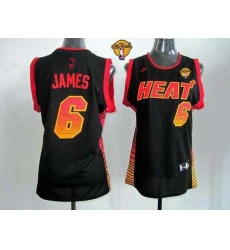 Women NBA Miami Heat #6 LeBron James Black With Finals Patch Vibe Stitched NBA Jersey