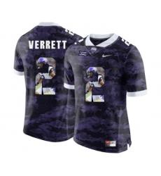 TCU Horned Frogs 2 Jason Verrett Purple With Portrait Print College Football Limited Jersey