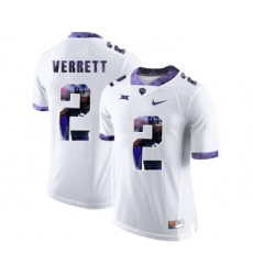 TCU Horned Frogs 2 Jason Verrett White With Portrait Print College Football Limited Jersey
