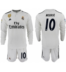 2018-19 Real Madrid 10 MODRIC Home Long Sleeve Soccer Jersey