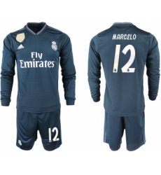 2018-19 Real Madrid 12 MARCELO Away Long Sleeve Soccer Jersey