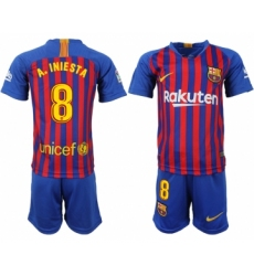 2018-19 Barcelona 8 A.INIESTA Home Youth Soccer Jersey
