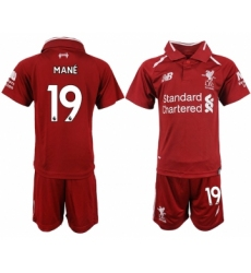 2018-19 Liverpool 19 MANE Home Youth Soccer Jersey