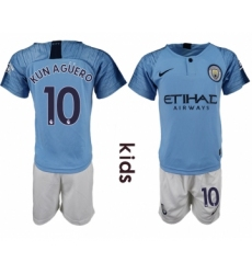 2018-19 Manchester City 10 KUN AGUERO Home Youth Soccer Jersey