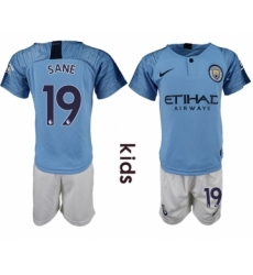 2018-19 Manchester City 19 SANE Home Youth Soccer Jersey
