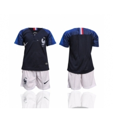 France Home 2-Star Youth 2018 FIFA World Cup Soccer Jersey
