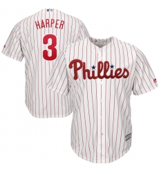 Men's Philadelphia Phillies #3 Bryce Harper Majestic WhiteRed Strip Home Official Cool Base Player Jersey