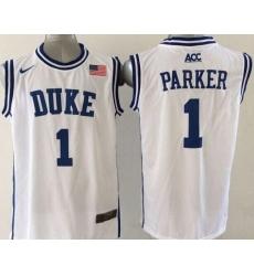 Blue Devils #1 Jabari Parker White Basketball New Stitched NCAA Jersey
