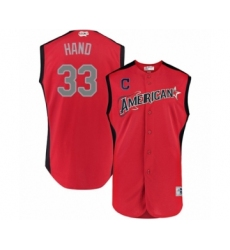 Men's Cleveland Indians #33 Brad Hand Authentic Red American League 2019 Baseball All-Star Jersey