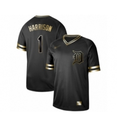 Men's Detroit Tigers #1 Josh Harrison Authentic Black Gold Fashion Baseball Jersey