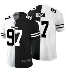 Men's San Francisco 49ers #97 Nick Bosa Black White Limited Split Fashion Football Jersey