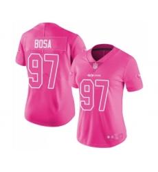 Women's San Francisco 49ers #97 Nick Bosa Limited Pink Rush Fashion Football Jersey