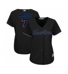 Women's Miami Marlins #7 Deven Marrero Replica Black Alternate 2 Cool Base Baseball Jersey