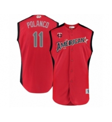 Men's Minnesota Twins #11 Jorge Polanco Authentic Red American League 2019 Baseball All-Star Jersey