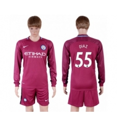 Manchester City #55 Diaz Away Long Sleeves Soccer Club Jersey