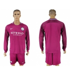Manchester City Blank Away Long Sleeves Soccer Club Jersey