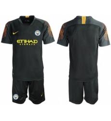 Manchester City Blank Black Goalkeeper Soccer Club Jersey