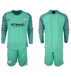 Manchester City Blank Green Goalkeeper Long Sleeves Soccer Club Jersey