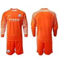 Manchester City Blank Orange Goalkeeper Long Sleeves Soccer Club Jersey