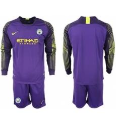 Manchester City Blank Purple Goalkeeper Long Sleeves Soccer Club Jersey