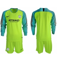 Manchester City Blank Shiny Green Goalkeeper Long Sleeves Soccer Club Jersey