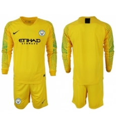 Manchester City Blank Yellow Goalkeeper Long Sleeves Soccer Club Jersey