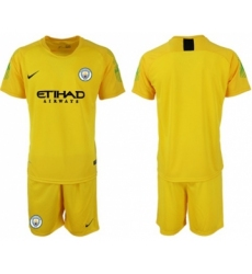 Manchester City Blank Yellow Goalkeeper Soccer Club Jersey