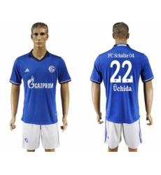 Schalke 04 #22 Uchida Blue Home Soccer Club Jersey