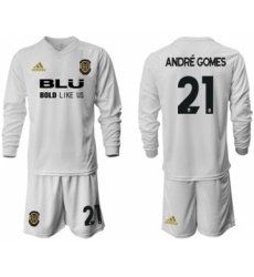 Valencia #21 Andre Gomes Home Long Sleeves Soccer Club Jersey