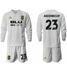 Valencia #23 Abdennour Home Long Sleeves Soccer Club Jersey