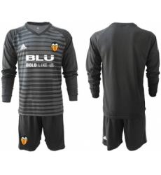 Valencia Blank Black Goalkeeper Long Sleeves Soccer Club Jersey