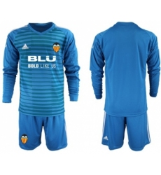Valencia Blank Blue Goalkeeper Long Sleeves Soccer Club Jersey