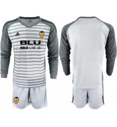 Valencia Blank Grey Goalkeeper Long Sleeves Soccer Club Jersey