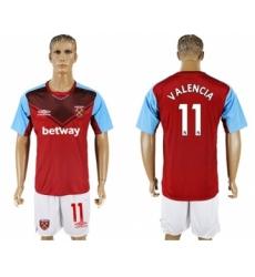 West Ham United #11 Valencia Home Soccer Club Jersey