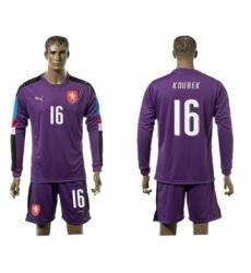 Czech #16 Koubek Purple Goalkeeper Long Sleeves Soccer Country Jersey