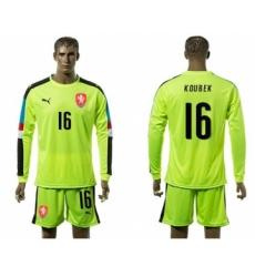 Czech #16 Koubek Shiny Green Goalkeeper Long Sleeves Soccer Country Jersey