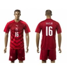 Czech #16 Vaclik Red Home Soccer Country Jersey