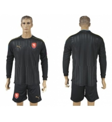 Czech Blank Black Long Sleeves Goalkeeper Soccer Country Jersey