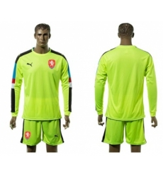 Czech Blank Shiny Green Goalkeeper Long Sleeves Soccer Country Jersey