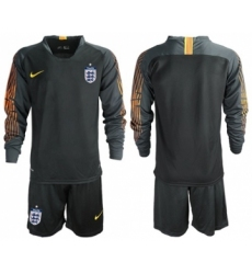 England Blank Black Long Sleeves Goalkeeper Soccer Country Jersey