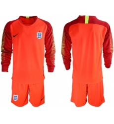 England Blank Red Long Sleeves Goalkeeper Soccer Country Jersey