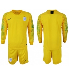 England Blank Yellow Long Sleeves Goalkeeper Soccer Country Jersey