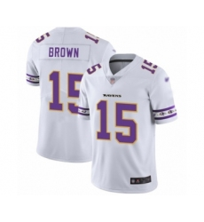 Men's Baltimore Ravens #15 Marquise Brown White Team Logo Fashion Limited Player Football Jersey