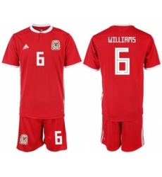 Wales #6 Williams Home Soccer Country Jersey