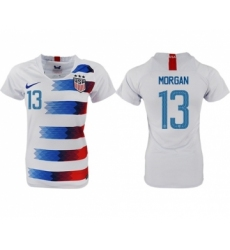 Women's USA #13 Morgan Home Soccer Country Jersey