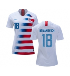 Women's USA #18 Novakovich Home Soccer Country Jersey