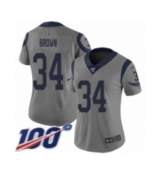 Women's Los Angeles Rams #34 Malcolm Brown Limited Gray Inverted Legend 100th Season Football Jersey