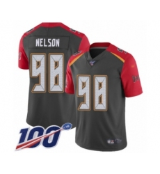Men's Tampa Bay Buccaneers #98 Anthony Nelson Limited Gray Inverted Legend 100th Season Football Jersey