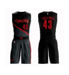 Men's Portland Trail Blazers #43 Anthony Tolliver Swingman Black Basketball Suit Jersey - City Edition